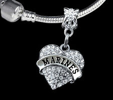 Marines Charm Fits European style Bracelet Gift for your marine wife or girl