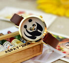 Fashion Panda Dial Leather Brown Band Quartz Movement Woman Ladys Wrist Watch