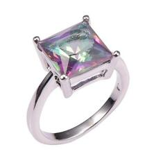 Stunning  Rainbow Topaz  925 silver  RING  size  12