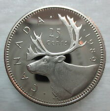 1989 CANADA 25 CENTS PROOF QUARTER COIN