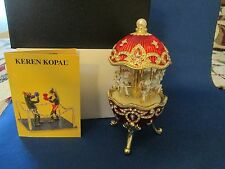 Red Egg with Horse Carousel Trinket Box by Keren Kopal music box Beautiful