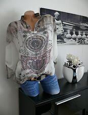 ♥ Italy 2tlg Boho Hippie Ethno Style Bluse Tunika+Top taupe  42 44 46 gr NEU ♥