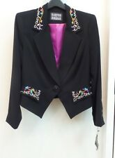 HAIRSTON ROBERSON BLACK FLORAL EMBROIDERED JACKET, SIZE (14) LARGE, NWT