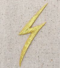 Iron On Embroidered Applique Patch - Gold Nature Lightning Bolt