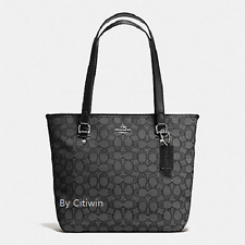 New COACH F58282 Signature Jacquard  Zip Top Tote Handbag Purse Shoulder Bag BLK