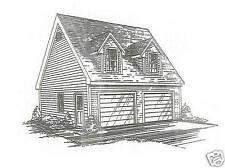 24x24 2 Car TD / LD / Interior Stairs to Loft  Garage Building Blueprint Plans