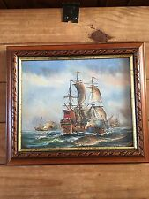 Oil Paint On Canvas Seascape Galleons In Sea Battle- Signed By Ambrose
