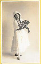 Edwardian era Postcard - Lady wearing beautiful Fancy Dress with a fan.