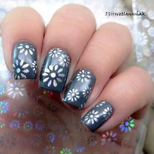 Sticker Holographique Papier Autocollant Fleurs Simples Décor Pour Ongle Art