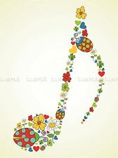 PAINTING DRAWING DESIGN ORNATE FLORAL MUSIC NOTE QUAVER ART PRINT POSTER MP3810A