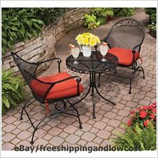 Table Chair Cushion Furniture Red Rocking 3-Piece Outdoor Bistro Set 2 Seat