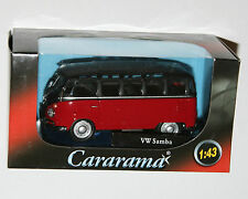 Cararama - VW Volkswagen SAMBA Bus (Red/Black) Model Scale 1:43