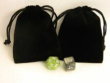 "Lot of 2 Small Black RPG Dice Bags 3"" x 4"" Velveteen Cloth Bag New DnD Pouch"