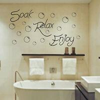 Soak Relax Enjoy Wall Art Sticker Bathroom Bubbles Toilet Splish Splash Bathe CC