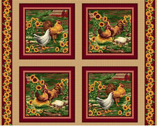 Roosters Pillow Panel Fabric by VIP Cranston, Fabric by the Yard
