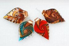 FREE Wholesale Lot 10pcs Leaf Gold sand Lampwork Glass Pendants DIY Necklace