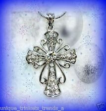 CLEAR CRYSTAL SILVER CROSS NECKLACE PENDANT RELIGIOUS CHRISTMAS GIFT FOR WOMEN