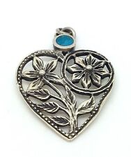 Vintage 925 Solid Sterling Silver Turquoise Heart Flower Charm Pendant 2.6g
