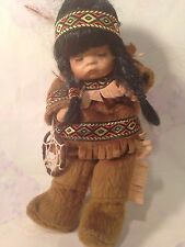 Sleeping Native American Girl Doll With A  Dream Catcher in Hand