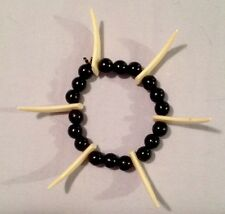 Black Plastic Bead Elastic Bracelet Cream Tooth Teeth Costume Jewelry