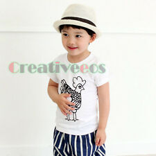 Fashion Kids Toddlers Boys Korean Cartoon Cock Printed 100% Cotton Tops T-Shirt