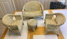 "Vintage Wicker Doll Furniture, 18"" Love Seat, two 12.5"" Chairs and 7.5"" Table."