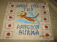 "WWII AVG FLYING TIGER DAVID ""TEX'HILL 1941-42 10 VICTORY ACE BAR WALL FLAG"