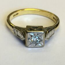 Vintage 18ct Gold Solitaire Diamond Engagement Ring Princess Cut Illusion L1/2