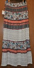 Womens Pretty Long Lace Insert Vanity Boho Peasant Skirt Size Small NWT NEW