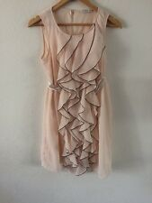 New Look Sheer Layered Dress Size 12 Nude Ruffle Front  R8475