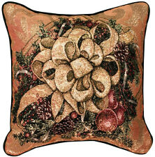 Christmas Bows of Gold Tapestry Square Pillow