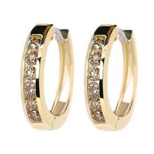 0.70 CARAT COGNAC CHAMPAGNE BROWN DIAMOND CHANNEL HOOP EARRINGS 14K YELLOW GOLD
