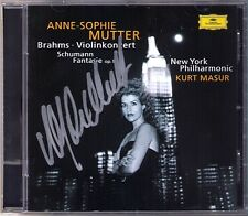 Anne-Sophie MUTTER Signed BRAHMS Violin Concerto SCHUMANN Fantasie KURT MASUR CD