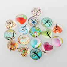 12mm Tree of Life Printed Half Round/Dome Glass Cabochons, Mixed Colour x 20 pcs