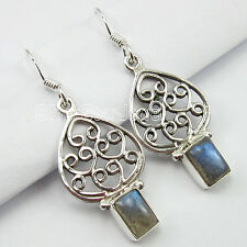LATEST STYLE !! 925 Solid Silver BLUE FIRE LABRADORITE WELL MADE Earrings 3.9 CM