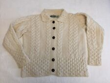 ARAN CRAFTS IRISH FISHERMAN CARDIGAN SWEATER WITH COLLAR WOMENS SMALL IVORY
