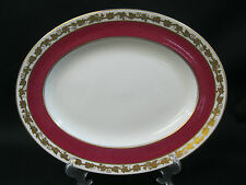 "Wedgwood Whitehall Powder Ruby Red 14"" Oval Serving Platter- W3994 Pattern"