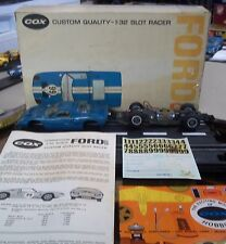 COX VINTAGE NICE 1/32 FORD GT SLOT CAR RUNNING CHASSIS, BOX, DECALS, INS+ AMT KB