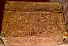 InAntique Hand Carved Wooden Merchant's Cash Chest Box 150+ Years Old