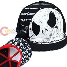 Nightmare Before Christmas Jack Face Snap Back Flat Bill Hat NBC Teen Adult Cap
