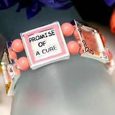Promise of a Cure Pink Ribbon Breast Cancer Awareness Photo Bracelet