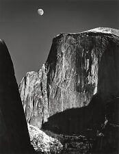"Moon and Half Dome photo by Ansel Adams,12.5""x16"", Giclee Art Canvas Print"