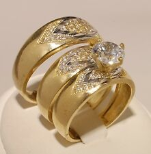Gold  Trio Bridal Ring Wedding & Engegement Ladies & Men Set Brand New