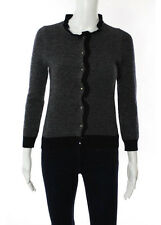 J Crew Black White Wool Ruffled Trim Cardigan Sweater Size Extra Small