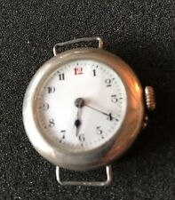 Vintage Old Solid Silver 925 Cased Trench Style Watch Face Movement d6