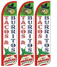 Tacos Burritos Windless Standard Size Swooper Flag Sign Banner Pk of 3