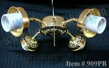 Ceiling Fan Light Kit 4 Four Arm Polished Brass Pull Chain Fixture PB Lighting