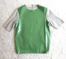 NEW MARNI GREEN PATENT LEATHER + WOOL KNIT BLOUSE TOP 38