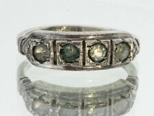 Antique Art Deco 1920's Uncas Sterling Silver Green Stone Ring Band