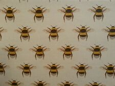 TEX EX ORIGINAL BEE COLLECTOR LINEN BUMBLEBEE INSECT UK PRINTED CURTAIN FABRIC
